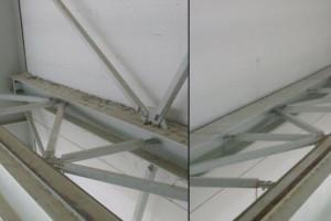 Czyszczenie belek konstrukcji nośnej hali produkcyjnej