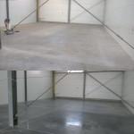 Posadzka betonowa przed i po czyszczeniu maszynowym. Podłoga odzyskała pierwotny wygląd.