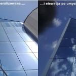 Fasada szklana umyta wodą demineralizowana ( woda dodatkowo podgrzana, Kraków )