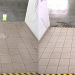 Posadzka gresowa poddana czyszczeniu maszynowemu ( przed i po czyszczeniu )