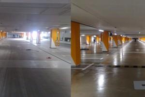 Czyszczenie posadzki garażu ( epoksydowa ) - po prawej zdjęcie po wykonaniu prac przez nasza firmę