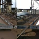 Okna dachowe z poliwęglanu - efekty czyszczenia na dachu odlewni żeliwa i innych metali